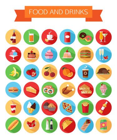 カラフルな食品と飲み物アイコンをセットします。フラット スタイルは、長い影と孤立したアイコンをデザインします。ベクトルの図。