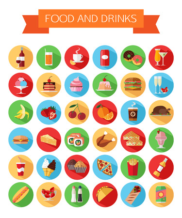 Set van kleurrijke eten en drinken iconen. Vlakke stijl ontwerp geïsoleerd pictogrammen met lange schaduw. Vector illustratie. Vector Illustratie