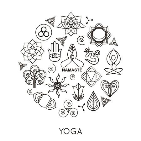 flor loto: Conjunto de monogramas y logotipos de yoga contorno. Elementos de diseño de yoga abstracto, iconos e insignias. Ilustración del vector.