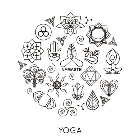 flower logo: Set of outline yoga monograms and logos. Abstract yoga design elements, icons and badges. Vector illustration. Illustration