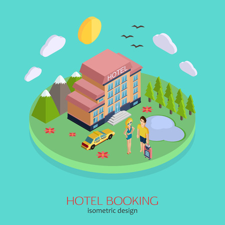 hotel booking: Hotel booking 3d isometric design concept. Vector illustration for web banners and website infographics.