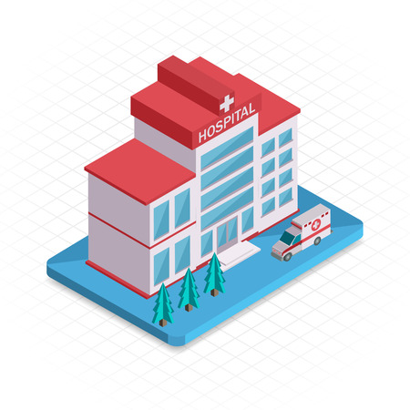 medical building: Hospital building. Isometric 3d pixel design icon. Vector illustration for web banners and website infographics. Illustration