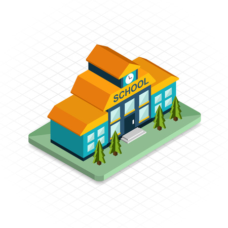 edificio: Edificio escolar. Icono isométrico diseño pixel 3d. Diseño plano Moderno. Ilustración vectorial para la web banners e infografías de sitios web. Vectores