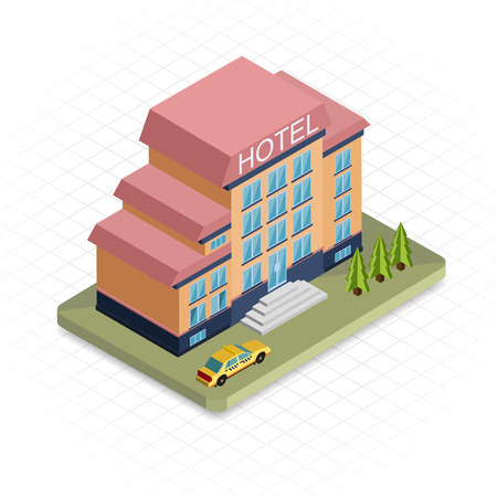 Edificio del hotel. Icono isométrico diseño pixel 3d. Diseño plano Moderno. Ilustración vectorial para la web banners e infografías de sitios web.