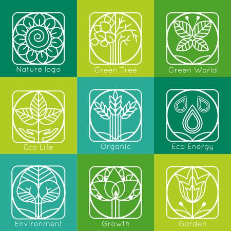 logo recyclage: Ensemble de contour monogrammes d'arbres et de logos. R�sum� organique, l'�cologie et bio �l�ments de conception et les badges. Vector illustration.