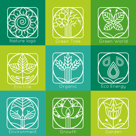 leaf logo: Set of outline tree monograms and logos. Abstract organic, ecology and bio design elements and badges. Vector illustration.