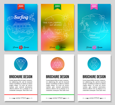 summer camp: Colorful blurred summer holidays backgrounds. Surfing, camping, island paradise. Hipster brochure design. Vector illustration.