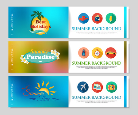 tours: Colorful summer holidays and travel banners. Blurred brochure design with flat icons, calligrafic elements and place for text. Vector illustration.