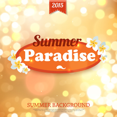 paradise place: Shining summer paradise typographical background with blurred bokeh lights and place for text. Vector illustration. Illustration