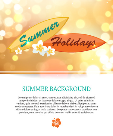 paradise place: Shining summer paradise holidays background with blurred bokeh lights and place for text. Vector illustration.