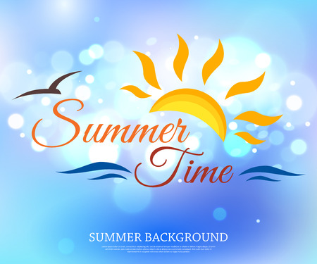 blurred lights: Shining summer time typographical background with blurred bokeh lights and place for text. Vector illustration.