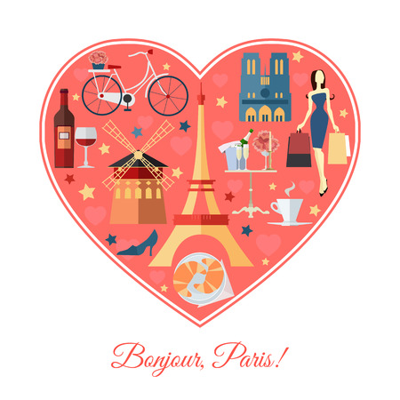shopping champagne: Bonjour, Paris. France travel background with place for text. Isolated heart shape with France flat icons. France symbols for your design. Vector illustration.