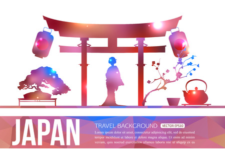 japan culture: Japan travel background with place for text. Isolated Japan shining sightseeings and symbols. Geometric and blurred style design. Vector illustration.