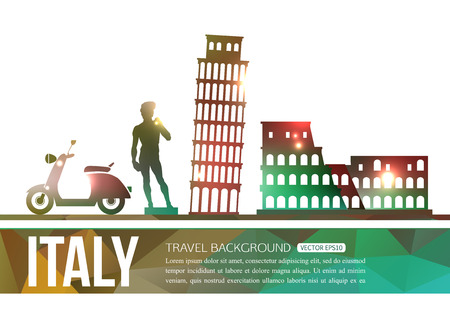 sightseeings: Italy travel background with place for text. Isolated Italy shining sightseeings and symbols. Geometric and blurred style design. Vector illustration. Illustration