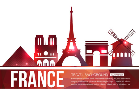 travel background: France travel background with place for text. Isolated France shining symbols. France symbols for your design. Vector illustration.