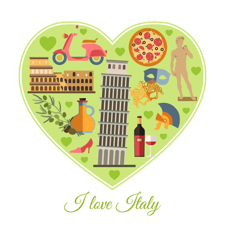 florence   italy: I love Italy. Italy travel background with place for text. Isolated heart shape with Italy flat icons. Italy symbols for your design. Vector illustration. Illustration