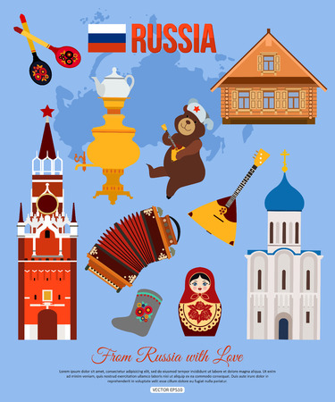 national: Russia travel background with place for text. Set of colorful flat icons, Russian national symbols for your design. Vector illustration.