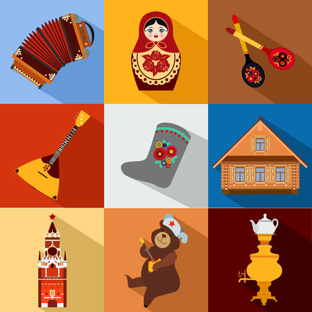 red square moscow: Set of Russia travel colorful flat icons, Russian national symbols with long shadow for your design. Vector illustration.