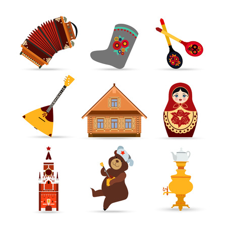 samovar: Set of Russia travel colorful isolated flat icons, Russian national symbols for your design. Vector illustration.