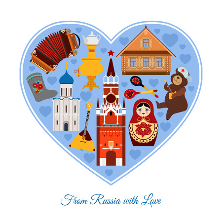 matrioshka: From Russia with love. Russia travel background with place for text.  Isolated heart shape with colorful flat icons, Russian national symbols for your design. Vector illustration. Illustration