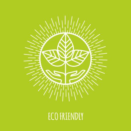 logo ecology: Outline eco friendly monogram or logo. Abstract organic, ecology and bio design element or badge. Vector illustration. Illustration