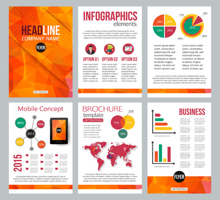 advertisements: Set of corporate business stationery brochure templates. Back and front sides. Abstract geometric background for flyer, report, placard or business document design. Infographic presentation templates for advertisements, mobile technologies and online serv