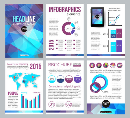 serv: Set of corporate business stationery brochure templates. Back and front sides. Abstract geometric background for flyer, report, placard or business document design. Infographic presentation templates for advertisements, mobile technologies and online serv