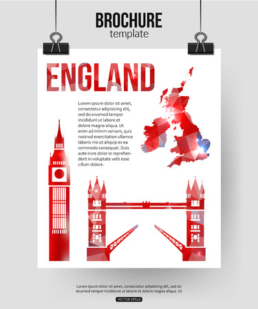 tower bridge: England travel background. Brochure with Great Britain map, Big Ben, Tower Bridge label or logo and place for text. London symbols for your design. Geometric design. Vector illustration.