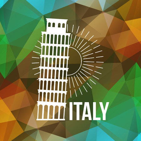 italy culture: Pisa label or logo over geometric background. Italy symbol for your design. Vector illustration.