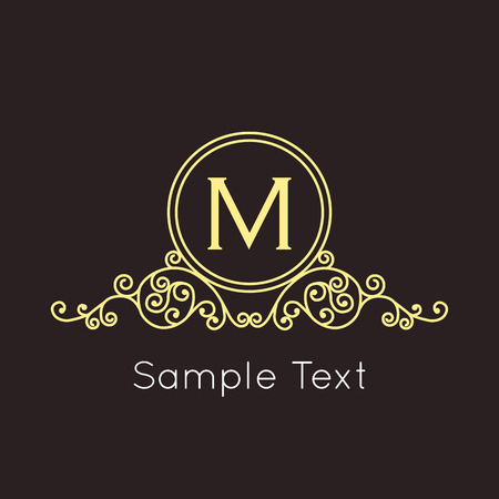 art logo: Art Deco geometric outline Monogram and Logo design element. Vector frame for hipster design with place for text.