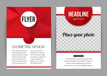 company background: Corporate business stationery brochure template with place for photo and text. Abstract geometric background for flyer, report, placard or business document design. Vector illustration.