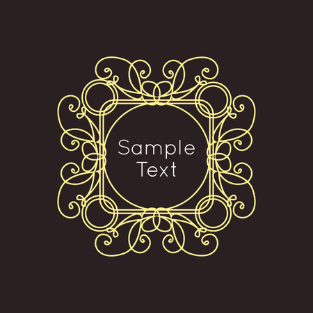 art deco background: Art Deco geometric outline Monogram and Logo design element. Vector frame for hipster design with place for text.