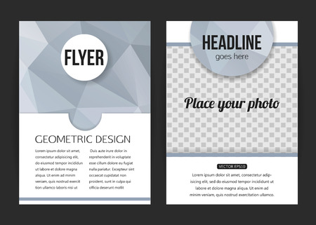 brochure background: Corporate business stationery brochure template with place for photo and text. Abstract geometric background for flyer, report, placard or business document design. Vector illustration.