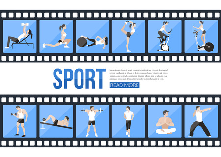 fitness training: Film strips and training people icons set for sport and fitness infographics, presentation templates, web and mobile apps. Flat style design. Vector illustration.