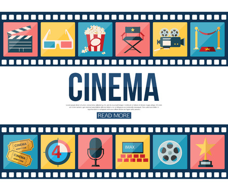 Film strips and cinema icons set for infographics, presentation templates, web and mobile apps. Flat style design. Vector illustration. Ilustração
