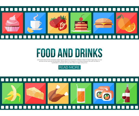mobile apps: Film strips and set of flat food and drinks icons for infographics, presentation templates, web and mobile apps. Vector illustration.