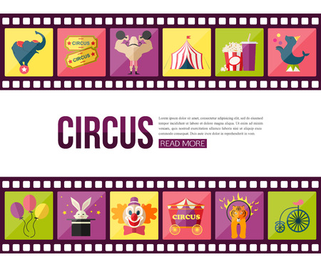 mobile apps: Film strips and circus entertainment  icons set for infographics, presentation templates, web and mobile apps. Flat style design. Vector illustration. Illustration