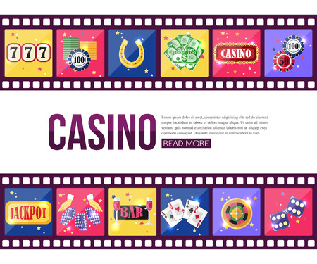 mobile apps: Film strips and set of colorful modern gambling icons, casino icons, money icons with long shadow for infographics, presentation templates, web and mobile apps. Flat style design isolated icons. Vector illustration. Illustration