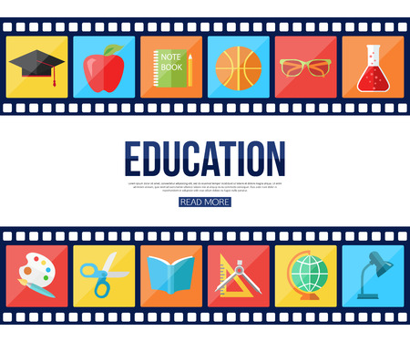 mobile apps: Film strips and set of flat school and education icons for infographics, presentation templates, web and mobile apps. Vector illustration. Illustration