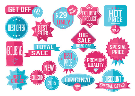 Set of Sale and Best Choice Badges and Labels. Pink and yellow. Vector illustration. Illustration
