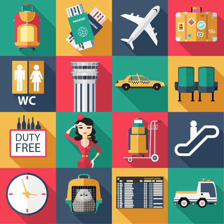 airport security: Set of airport flat icons. Set of paper ribbons. Flat style design. Vector illustration.