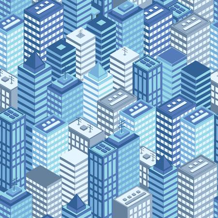 Bleu plat ville isométrique pattern. Vector illustration.
