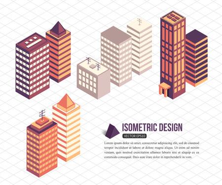 edificio: Conjunto de isométricos edificios altos para la construcción de la ciudad. Ilustración del vector.