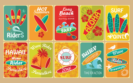 hawaiian shirt: Set of retro surfing typographical posters for your design. Vector illustration.