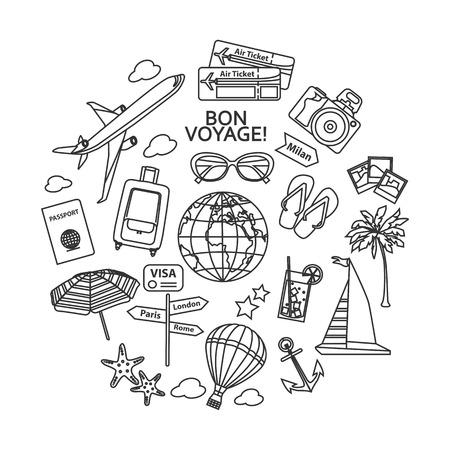 paradise beach: Travel outline icons set. Vector illustration.