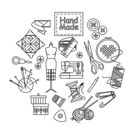 maquinas de coser: Hechos a mano y de esquema de costura iconos conjunto. Ilustración del vector. Vectores