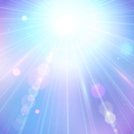 rays: Summer sun light burst. Shining summer background with blurred bokeh lights. Illustration