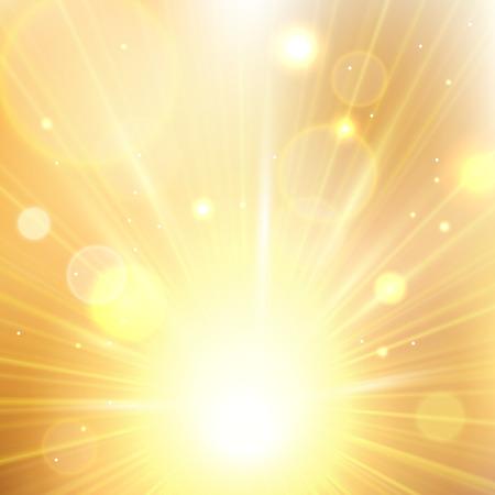 Yellow summer sun light burst. Shining summer background with blurred bokeh lights. Illustration