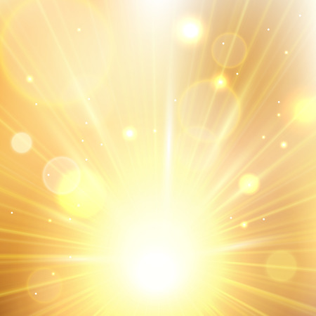 Yellow summer sun light burst. Shining summer background with blurred bokeh lights. Ilustração