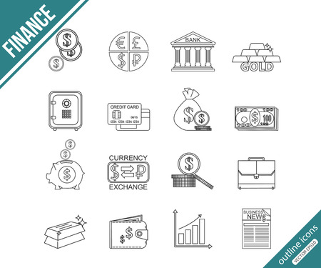 investing: Finance and investing outline icons set. Vector illustration.